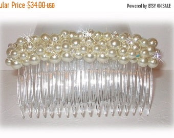 ON SALE 15% OFF Pearl Cluster Haircomb