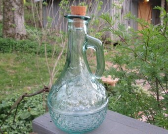 Vintage Green Glass Cruet/ Pitcher - Fruit Basket Design