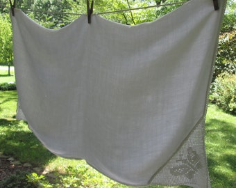 Vintage White Linen Tablecloth - Butterfly Crocheted Corners - Imperfect