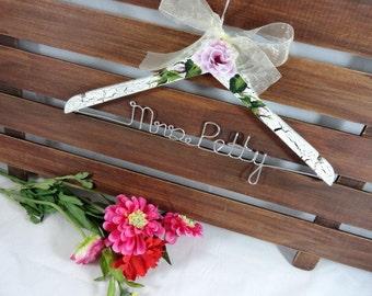 Wedding Coat Hanger - Bride Hanger - Crackled Shabby Chic Ivory Hand Painted Wedding Photo Prop - Bridal Keepsake - Hand Painted - Gift Idea