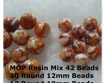 42Mother of Pearl Shell and Resin Beads Brown Round Beads 10mm 12mm