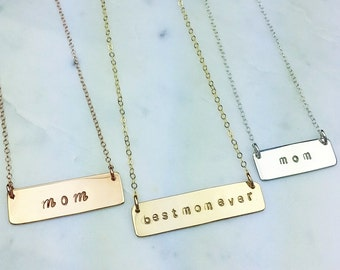 Best mom ever bar rose gold silver necklace