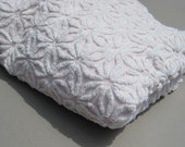 Pale Pink Chenille Cutter Fabric Vintage Bedspread As-Is for Projects Floral Chenille Bedspread