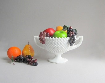 Large Vintage English Hobnail Serving Bowl With Handles, Westmoreland Glass, Wedding Centerpiece, Milk Glass Fruit Bowl