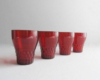 Vintage Red Glasses, Drinking Glasses, Red Glassware, Barware, Bar Glasses