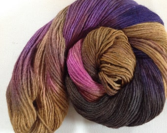 Hand dyed merino tussah silk dk  3.5 ozs 100 g 210 yards Mustard Seed
