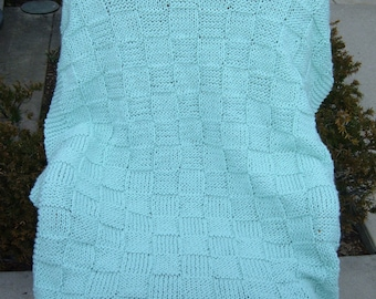 Super Sale ~ Pale Green Checkerboard Basket ~ 35 inch x 45 inch~ Knitted Baby/Lap Blanket  - FREE SHIPPING