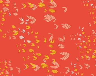 Gentle Breeze Red - Meadow - Art Gallery Fabrics - Leah Duncan - MW-70021 - Leaves Feathers