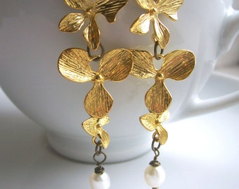SALE Golden Petals orchid flower earrings - with cream pearl - handmade