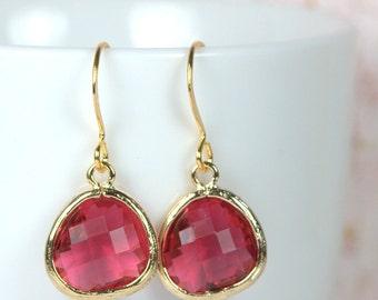 January/July Birthstone Quartz and Gold Framed Dangle Earrings, Garnet Gold Earrings, Ruby Gold Earrings, Gold Earrings #807