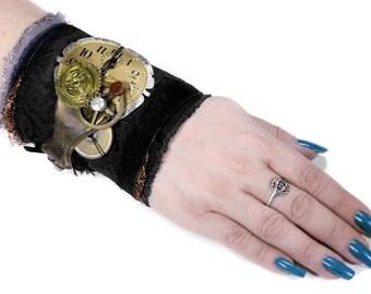 Steampunk Textile Cuff Black Leather ESCUTCHEON Distressed Watch Dial GEARS Glass BRONZE Button Burning Man Cuff - Steampunk by edmdesigns