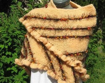 Peach Triangle Shawl with a Novelty Yarn Stripe