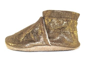 Soft Sole, Gold Leather Baby Shoes, Metallic, Moccs, 0 to 6 Month, Eco Friendly