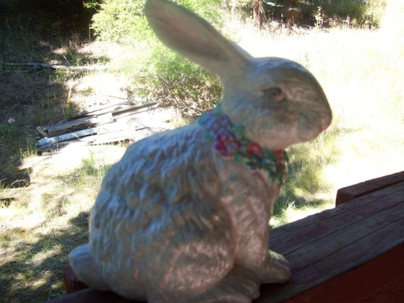 Gray ceramic hand painted Bunny Rabbit with a flower necklace, indoor, outdoor decor, gift, decoration, bunny, rabbit, ceramic decoration,