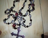 Skull and obsidian bead rosary necklace with removable decoration RO-30-0004