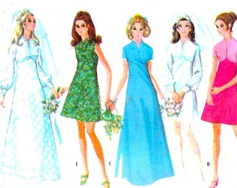 70s Brides gown or bridesmaid dress vintage sewing pattern McCalls 2376 Bust 38 wedding party