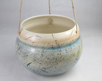 Large Hanging Planter / Handmade Ceramic Planter with Spatter Pattern / Indoor Plant Pot with Active Speckled Design / Made to Order