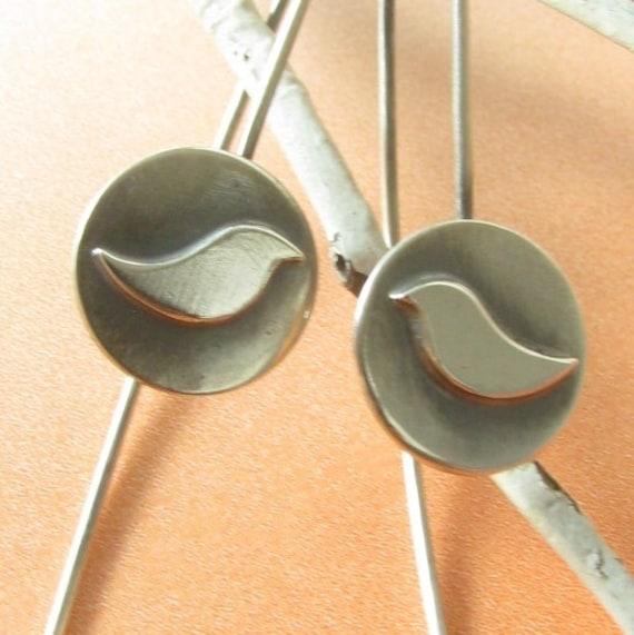 Small Sterling Silver Bird Earring, Minimalist Earrings, Contemporary Earrings, Dangle Earrings, Modern Silversmith Jewelry, Bird Jewelry