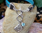 Regaliz Licorice Leather Turquoise 10mm Sterling Silver Toggle Charm Bracelet