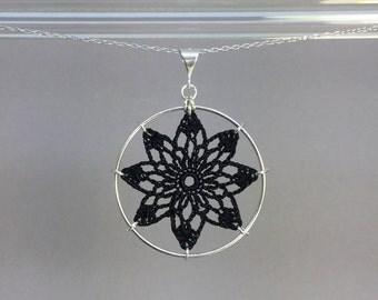 Tavita doily necklace, black silk thread, sterling silver