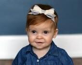 Grey Bow // Headband // Lace Bow Hair Clip // Lace Bow // Photo Prop // Baby Headband // Wool Felt // Adult Headband // Hair Clip // Gray
