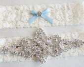wedding garter set, garters, something blue, garter set, jeweled garters