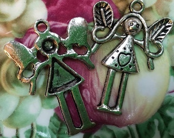 girl charms angel pendant  silver  quantity two measures  (DRW15) jewelry findings supplies wings