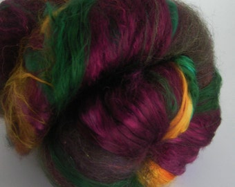 Fiber Batt Roving Wool Silk JEWELTONES INCREDIBATT Art Super Luxe Luxury 50 gm Spin Felt Craft Textured Wine Emerald Gold hand carded finest