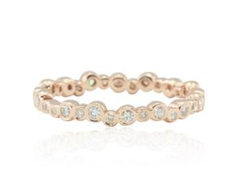 Rose Gold Wedding Band with Bezel set Moissanites - Eternity Ring - Moissanite Band - LS4564