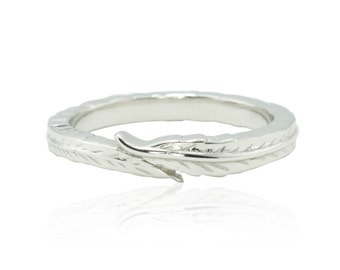 Plume Ring - Etched Feather Wedding Band for Her in Your Choice of 14k Gold, 18k Gold, or Platinum- LS4597