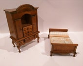 Vintage Wooden Bedroom Set 1:12 Scale