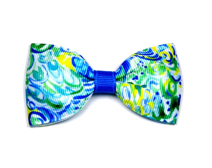"""Lilly's Lagoon ~ 3"""" Hair Bow Tuxedo Bow ~ Lilly Inspired ~ Simple Bow ~ Boutique Bow for Babies Toddlers ~ Girls Hair Bows"""