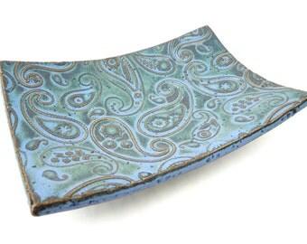 Slate Blue Textured Paisley Handmade Ceramic Pottery Soap Dish Plate