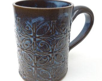 Dark Blue Textured Tin Roof Handmade Ceramic Pottery Coffee Mug
