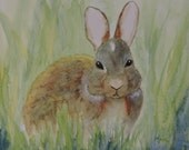 Bunny Painting-Rabbit Painting-Baby Nursery-Watercolor Painting of a Bunny Rabbit-Wildlife Art-Easter Art
