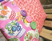 Skulls Printed Cotton Make-up Bag / Toiletry Bag / Wet Bag - FREE SHIPPING