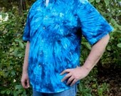 I Love Blue Tie-dyed Button Down Collar Short Sleeve Oxford Shirt for Men