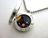 Mini Solar System Hand-Painted Inside Glass and Stainless Steel Locket