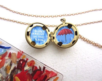 Rainy Day Umbrella Locket, Hand-Painted in Oil Enamel, Encouragement Gift