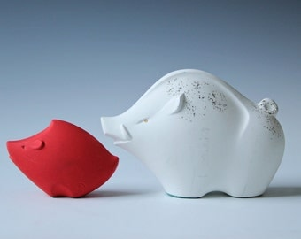 Modern ceramic baby and mama wild boar red and white Japan