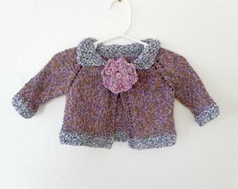 Knit Baby Sweater, Baby Girl Sweater, Boho Baby Sweater,Hand Knit Sweater, Hand Knit, Baby Sweater,Knit