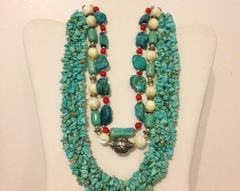 Turquoise Necklace THREE Necklace Lot Mother of Pearl Blue Necklace Boho Necklace Necklace Lot Bali Bead Necklace LOT BLKMOP