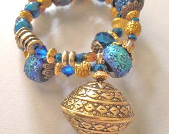 Gold Bracelet w/ Cobalt Blue Beads & Big Charm Boho