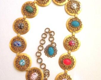 Concho Belt VIntage 60s Boho Gold Gypsy Size M L