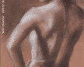 Original charcoal and chalk drawing -- ARM SHADOW -- 7 x5  inch nude figure study for bathroom, by Diana Moses Botkin