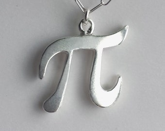 Pi Necklace - Sterling Silver - Geekery - Solid Silver - Pi Jewelry - Pi Symbol - Silver Pi Necklace - Yay Science - Nerd - Made In Brooklyn