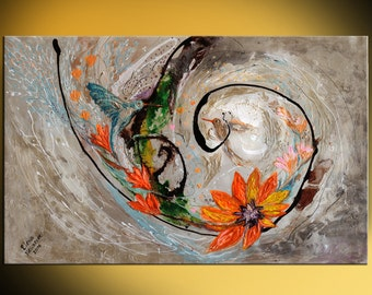 """40"""" Abstract flowers birds painting on canvas orange ultramarine white color light background thick paint large wall painting Israeli art"""