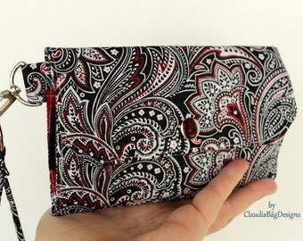Large Cell Phone Wallet Fabric Travel Wallet Wristlet Key Fob for iPhone 6 Plus Galaxy S4 S5 S6 - Black Red Paisley