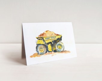 Truck Greeting Cards - Kids Truck Cards - Watercolor Truck Notecards - 4.25 x 5.5 set of 6