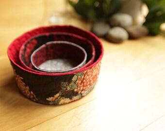 quilted fabric nesting bowls - Chrysanthemum Kimono - ready to ship